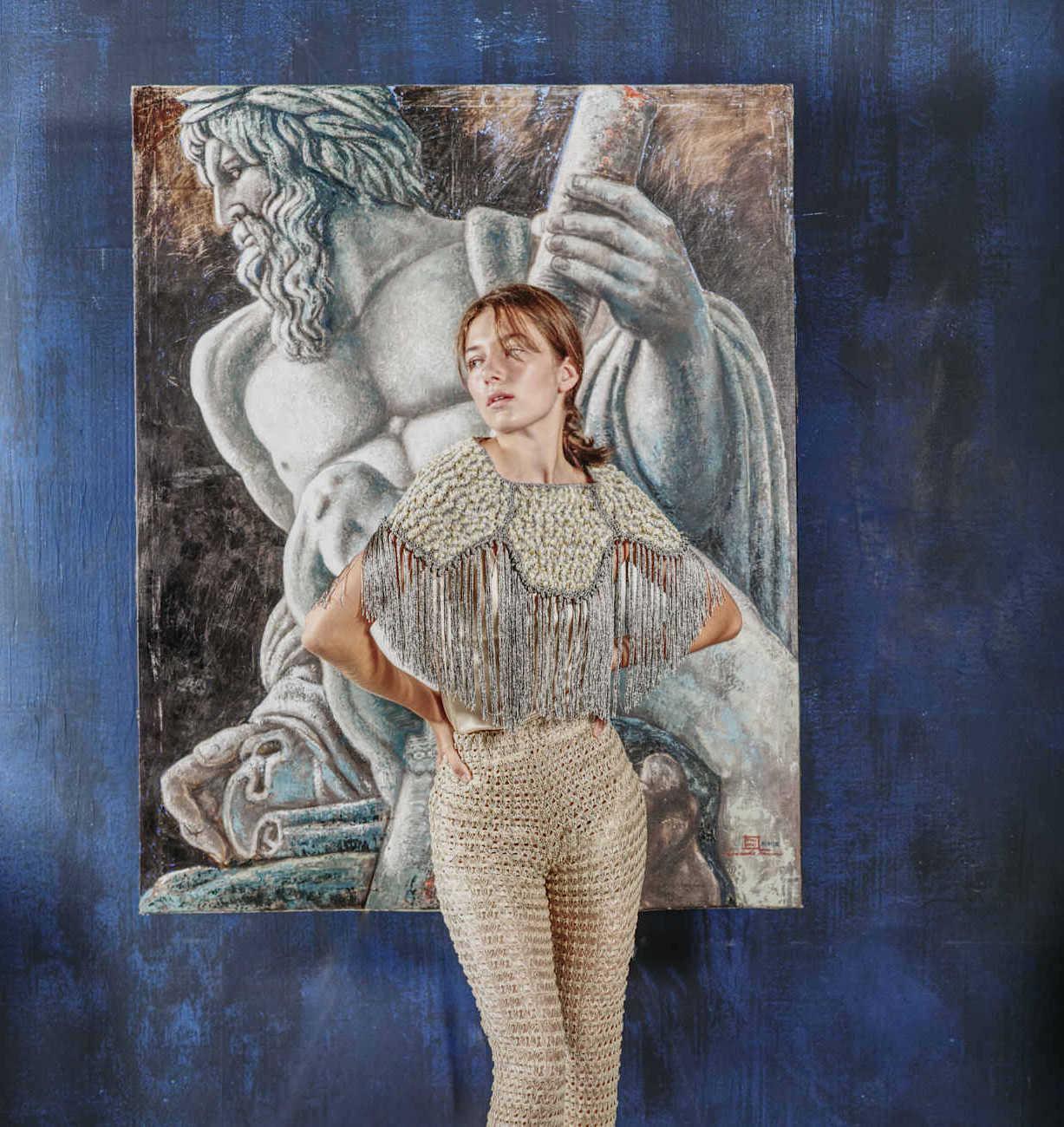 Capa crochet Brunilda fantasía y flecos