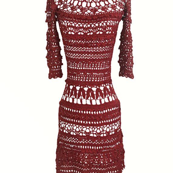 Vestido de crochet rojo pasión